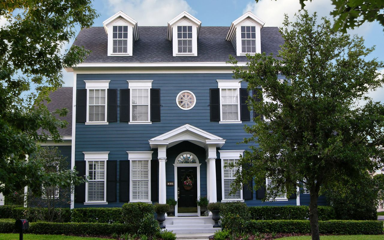 Blue colonial house house exterior pinterest best for Colonial style trim