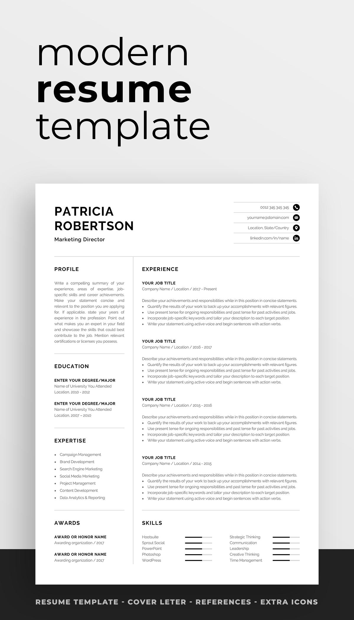 Professional 1 Page Resume Template Modern One Page Cv Word Mac Pages Minimalist Design Developer Designer Marketing Patricia Modern Resume Template Resume Design Creative Modern Resume