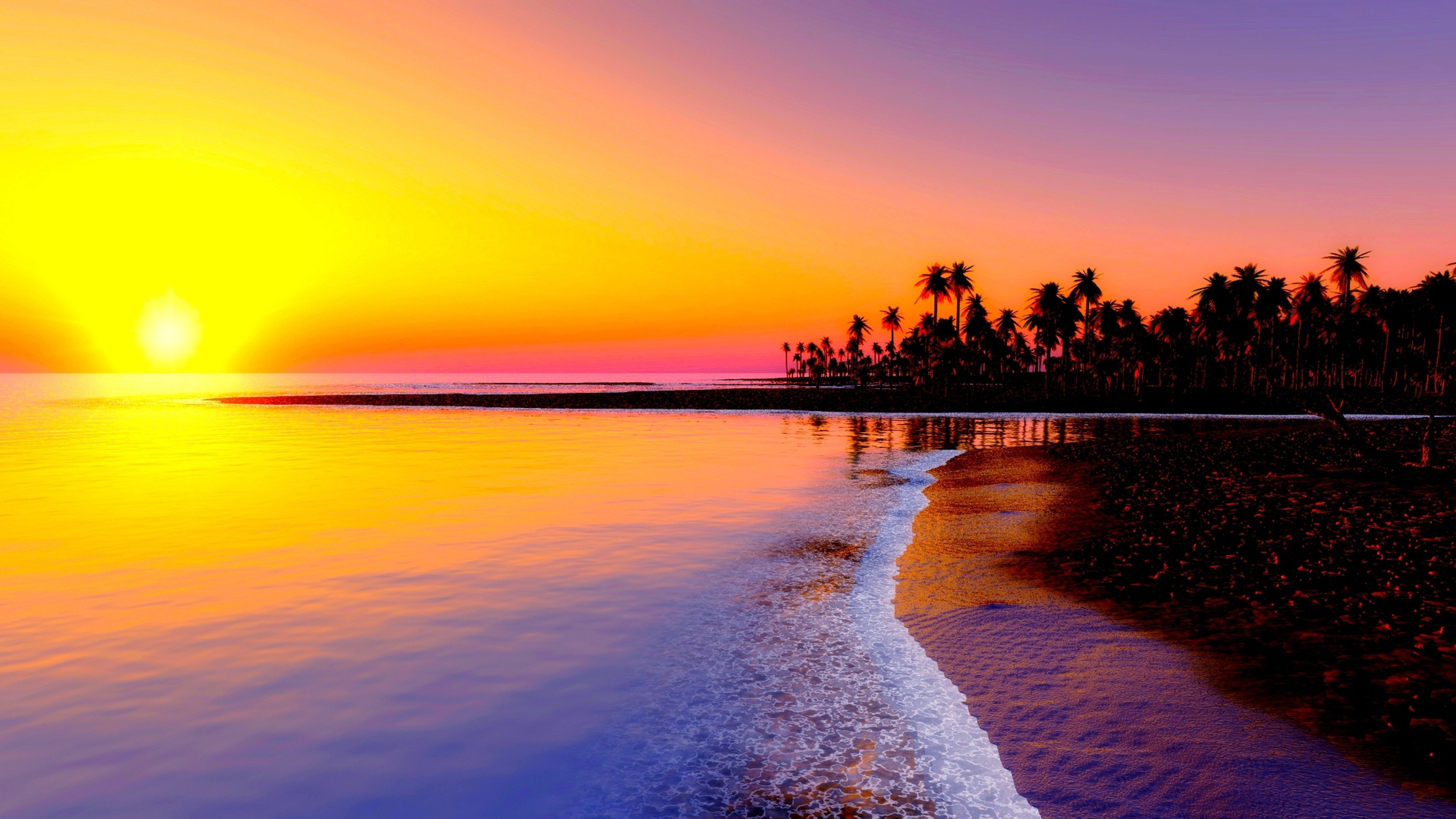 4k Sunset Wallpaper In 2019 Beach Background Beach