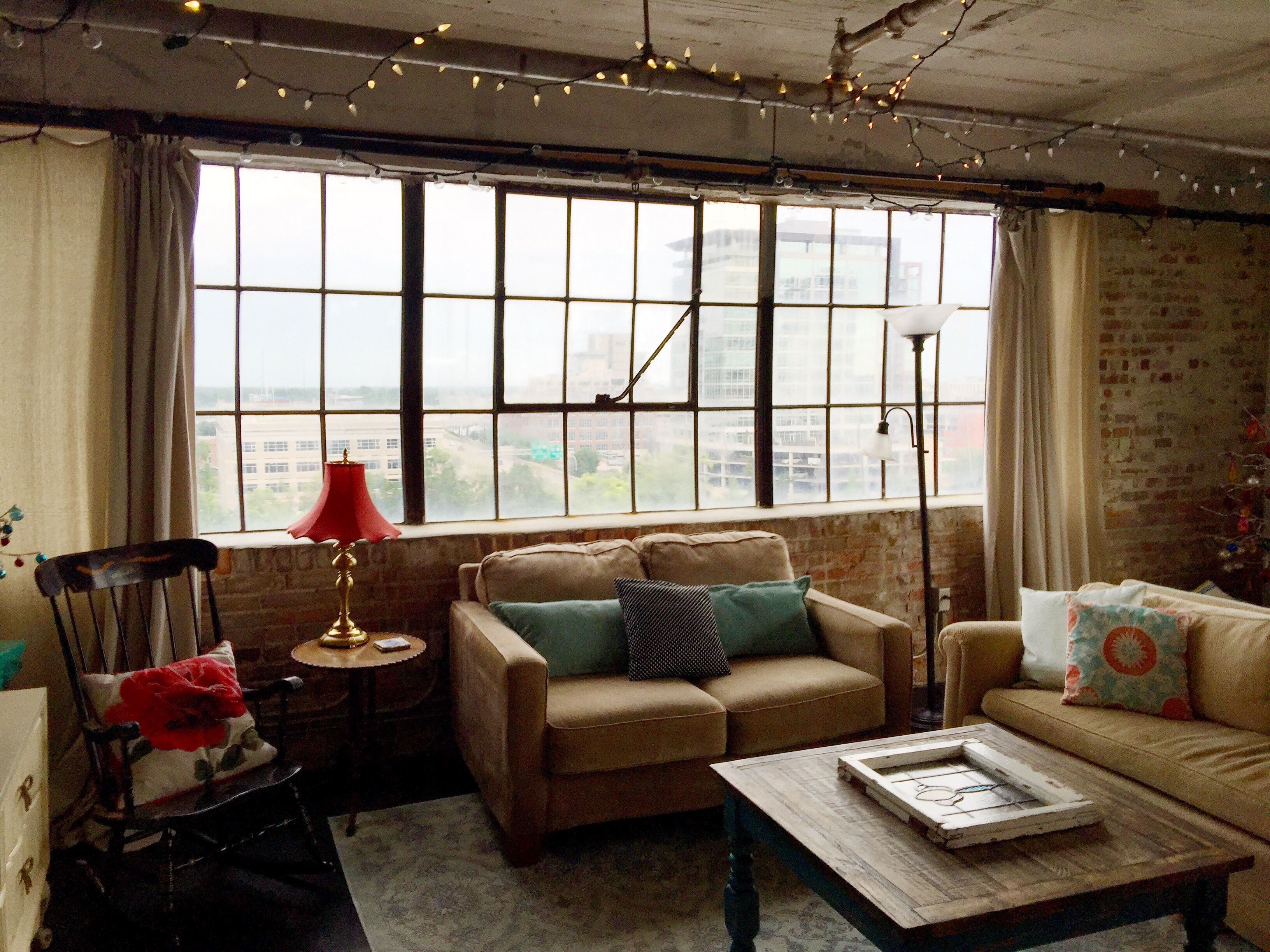 #Loft #Cityliving #Industrial #Charming #Livingroom #Large Windows