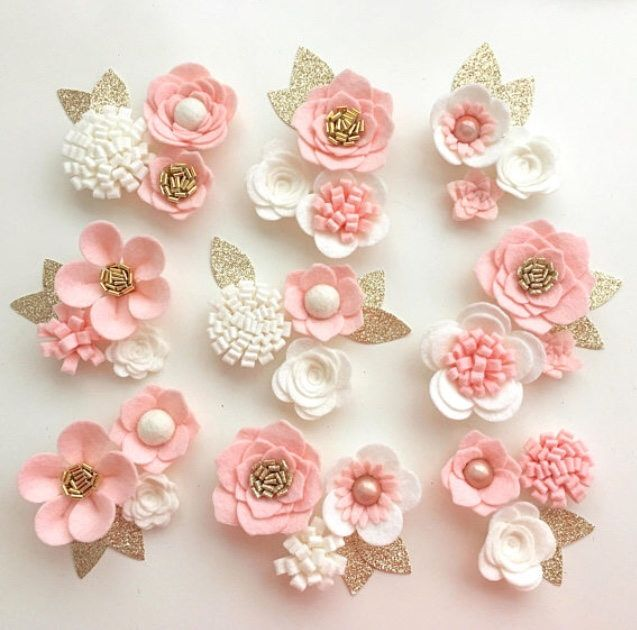 Hand made blush & ivory felt flowers/roses. Felt flower crown, flower headband, flower garland, baby headband, nursery decor ~CUSTOM LISTING