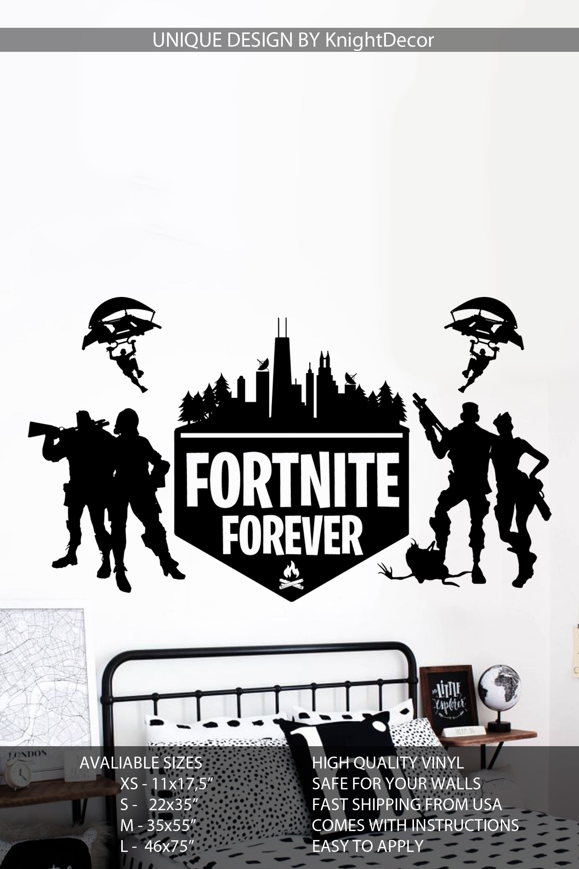 Fortnite Wall Decal Fortnite Vinyl Sticker Gaming Sticker Wall Decal Fortnite Battle Royale Wall Decals Wall Decal Sticker Vinyl Sticker