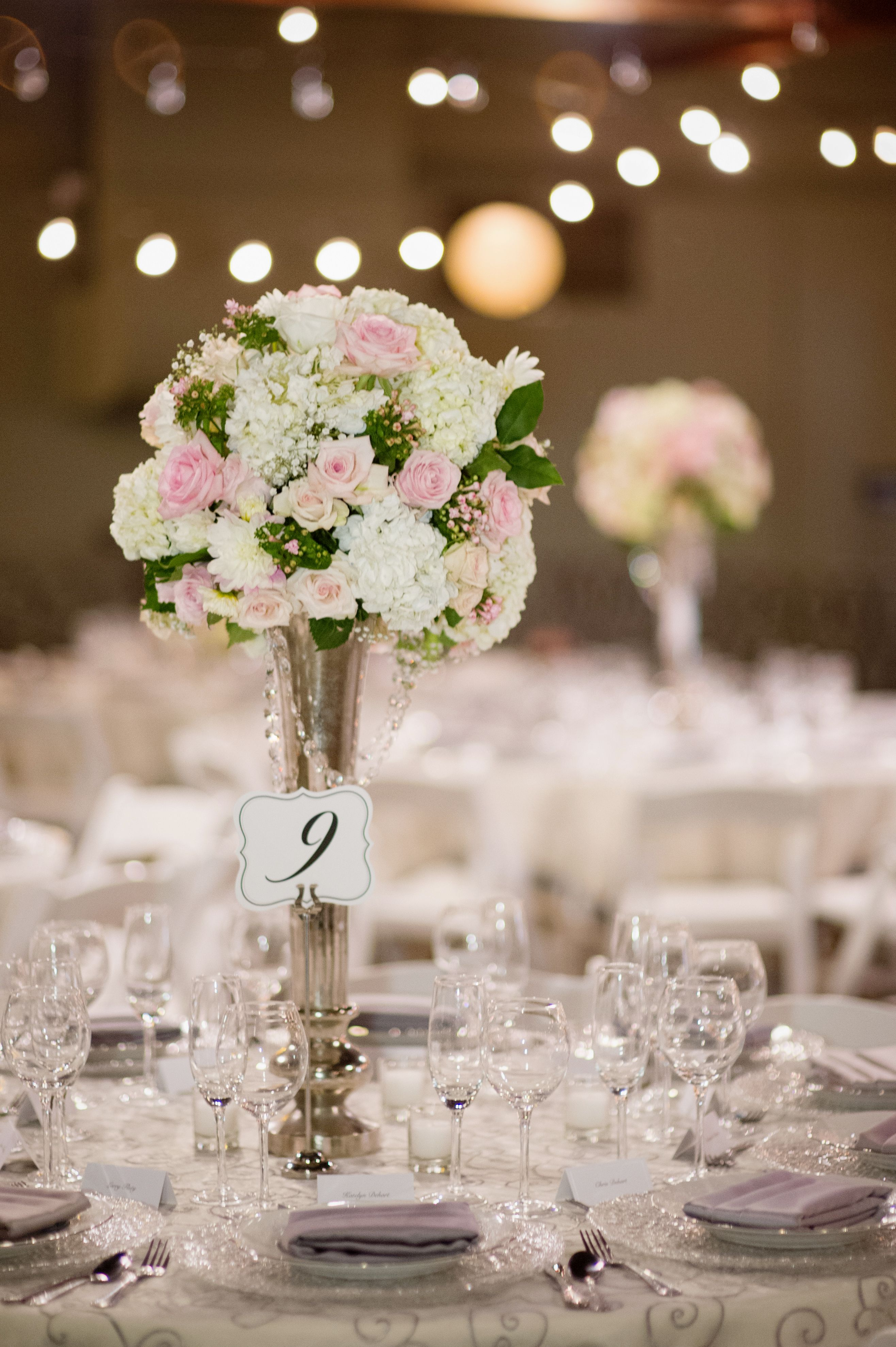 wedding centerpiece using tall chic silver vase with hanging jewels rh pinterest com