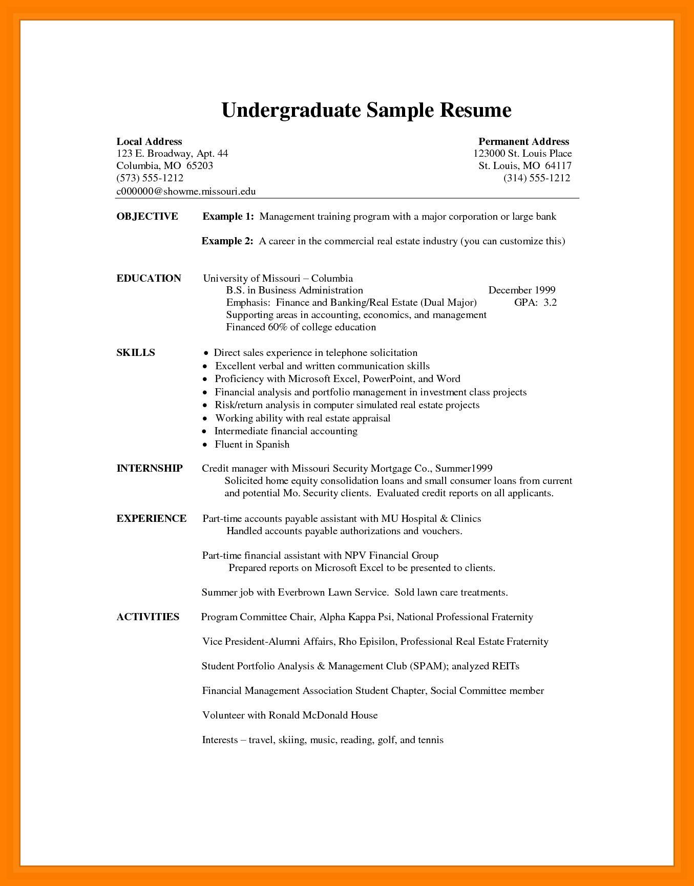 Resume Format Undergraduate Resume Templates Resume Examples Resume Format Resume