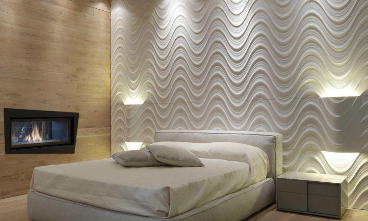 3d wandgestaltung stein dekorativ ideen innen, steinoptik und lichteffekte im schlafzimmer - 3d wandgestaltung, Design ideen