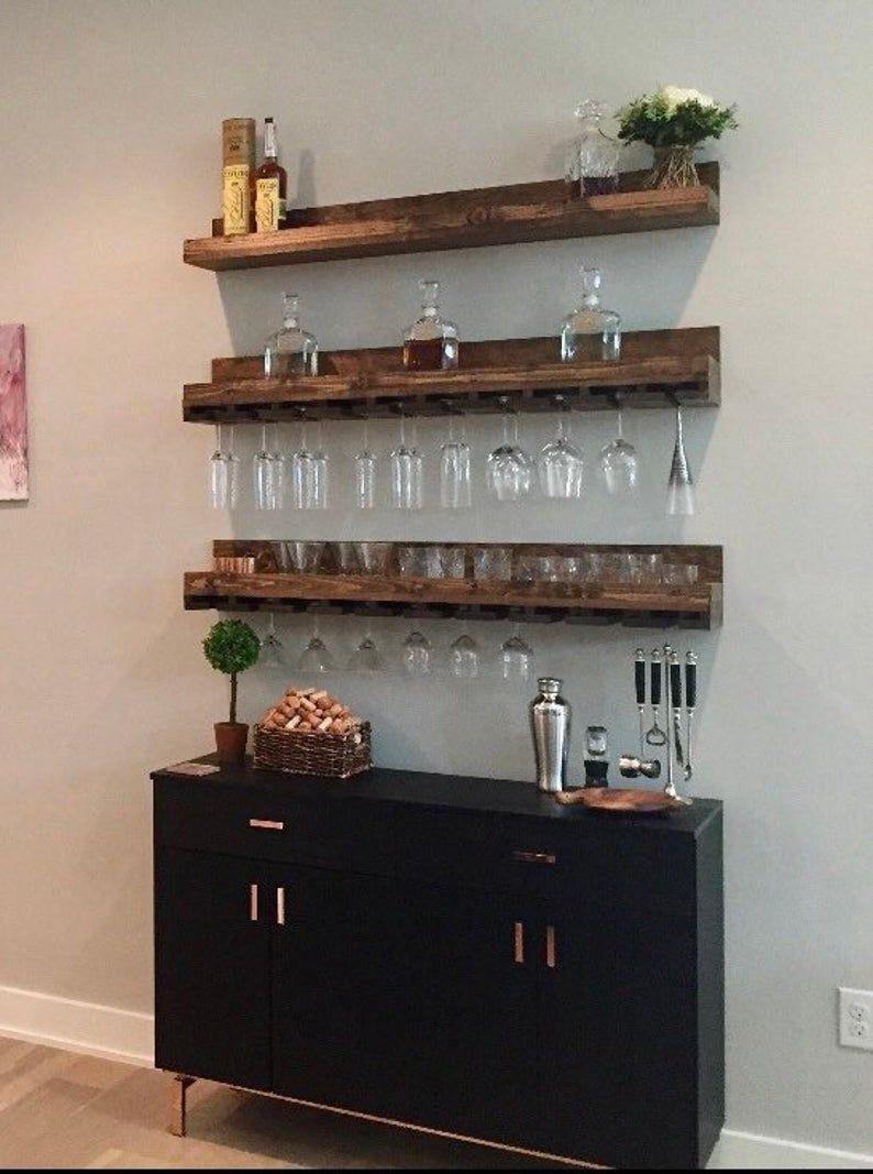 Wood Wine Rack Wall Mounted Shelf & Hanging Stemware Glass Holder Organizer Bar Shelf Unique Rustic Bar Shelves