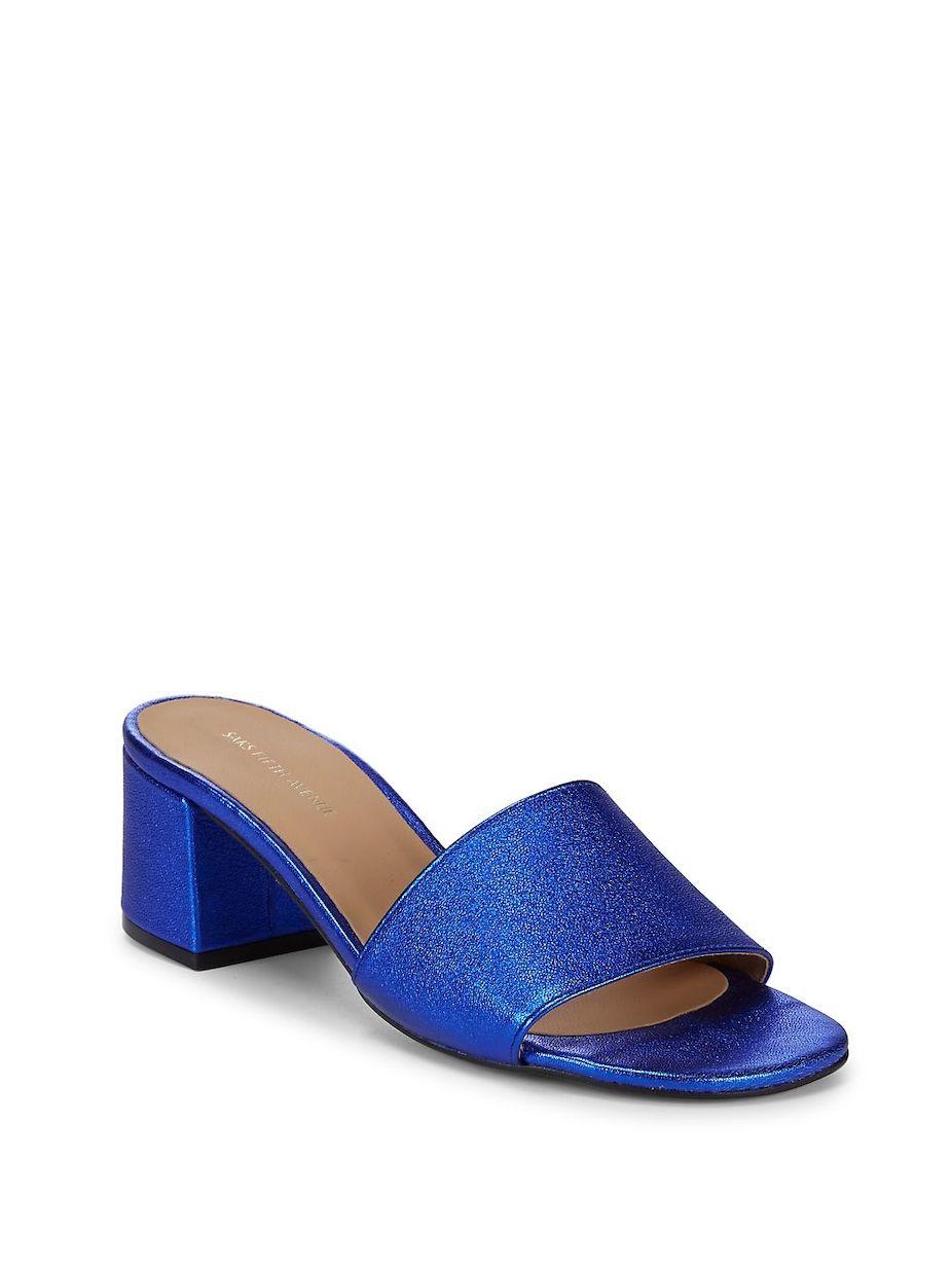 39a5edd451ca Saks Fifth Avenue Metallic Block Heel Leather Sandals ...