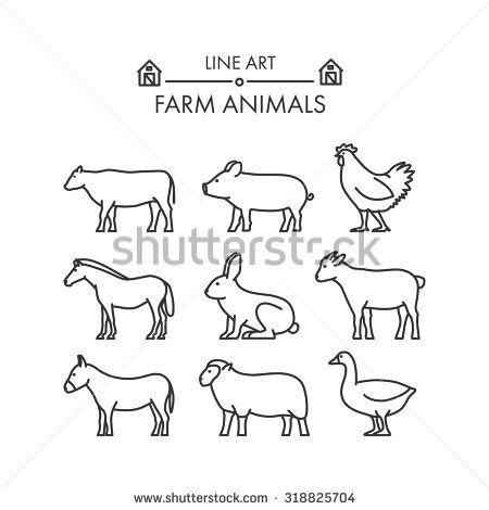 Outline Figures Of Farm Animals Animal Outline Farm Animals Cow Illustration
