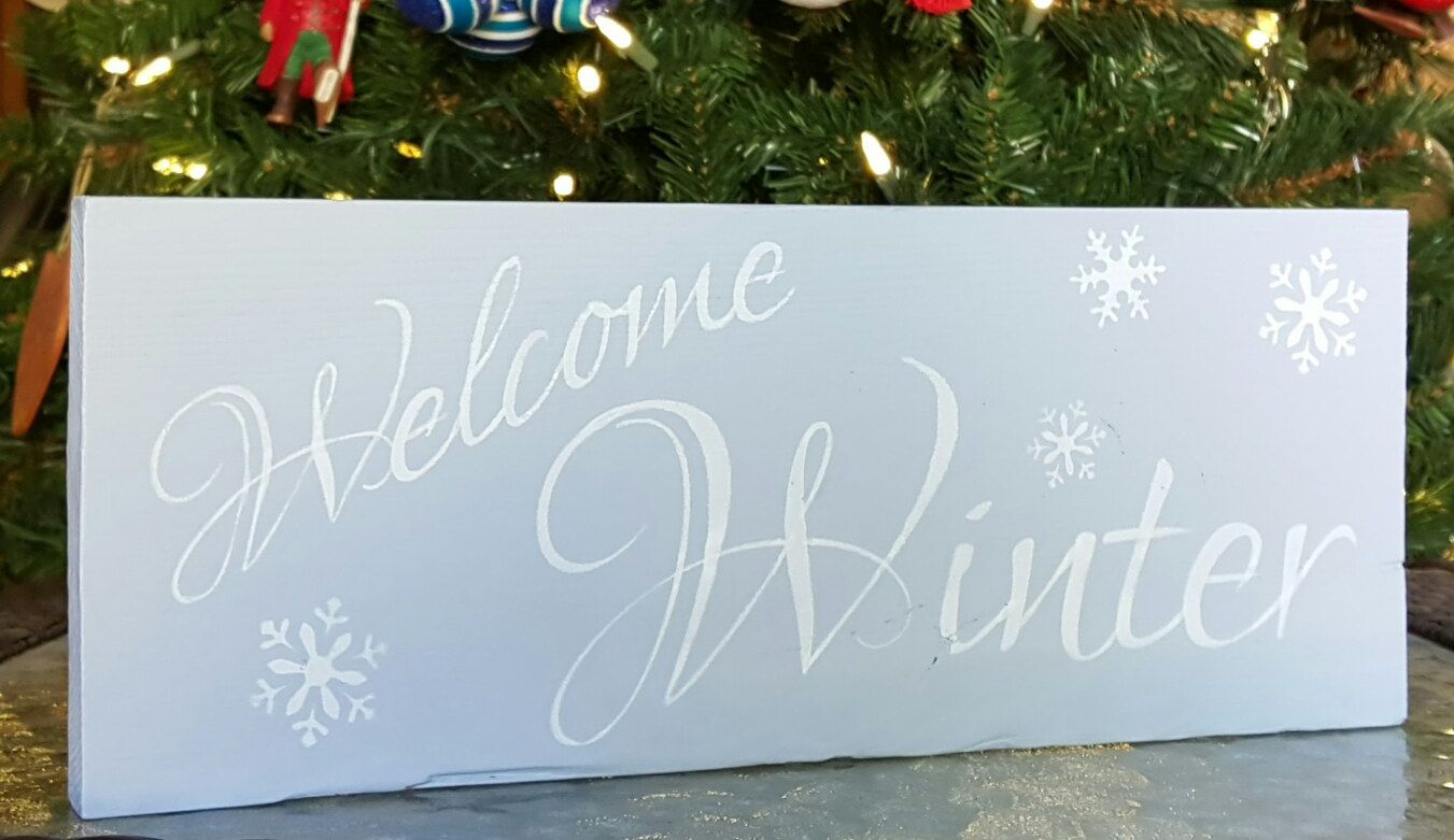 Christmas Wood Sign - Rustic Welcome Winter Gray Blue and White Welcome Winter Christmas Wooden Sign (10.00 USD) by AllonsyDecor