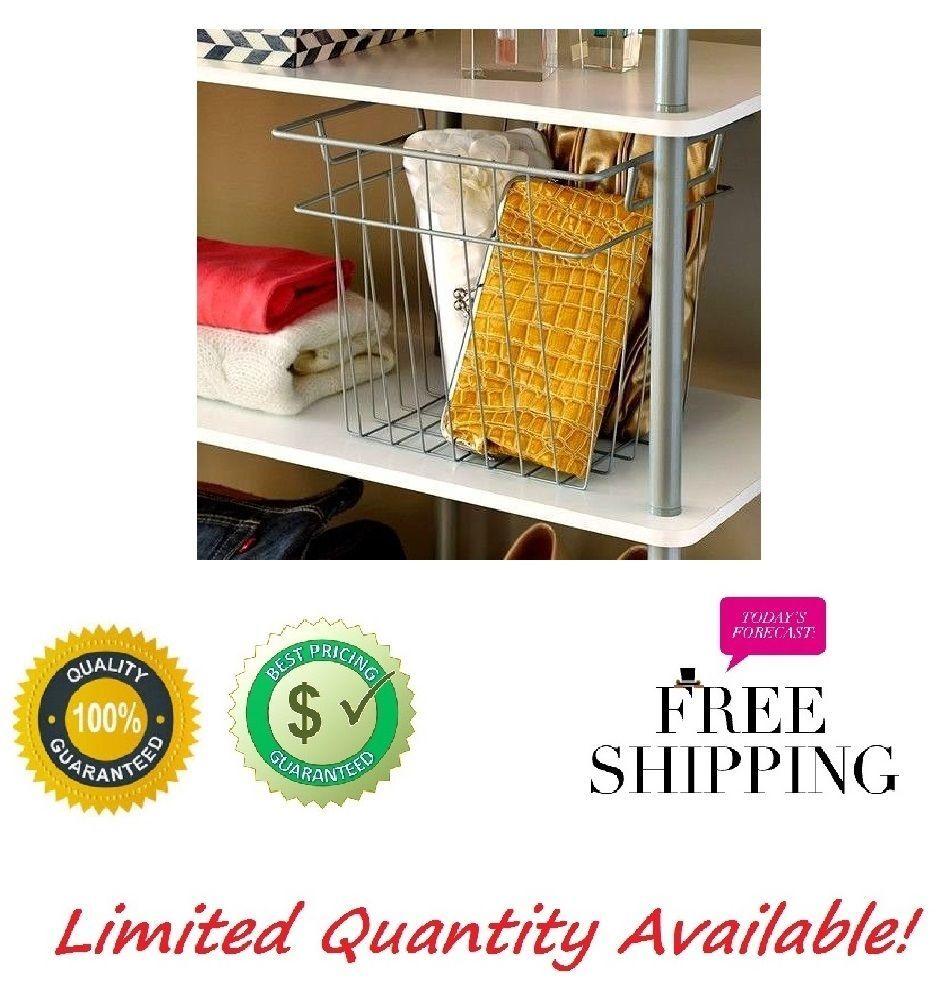 Wire Basket Large Nickel Closet Storage Home Closet Bathroom Organizer Wire  Bin #WireBasketLargeNickelCloset