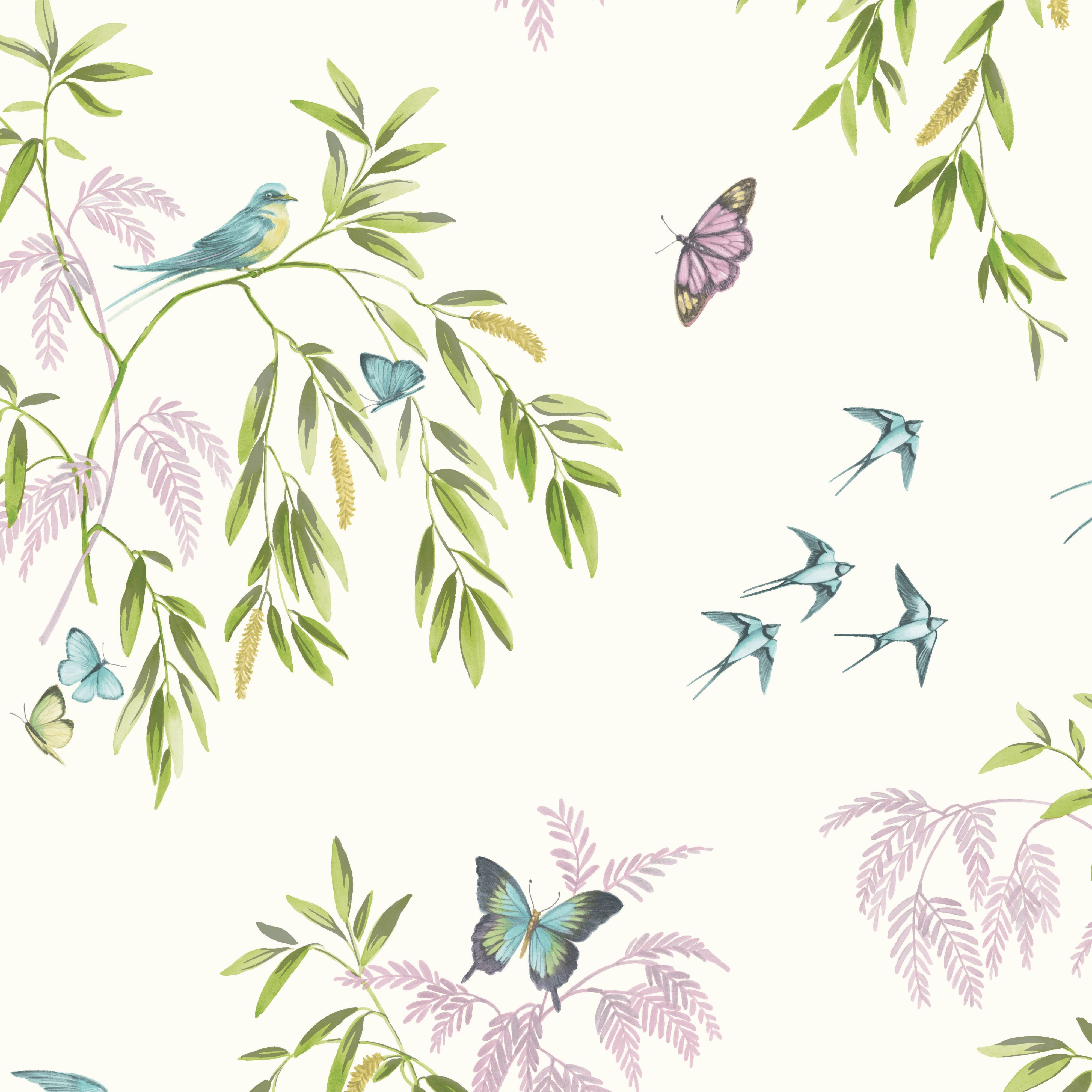 Arthouse vintage halcyon days cream birds butterflies - Butterfly wallpaper homebase ...