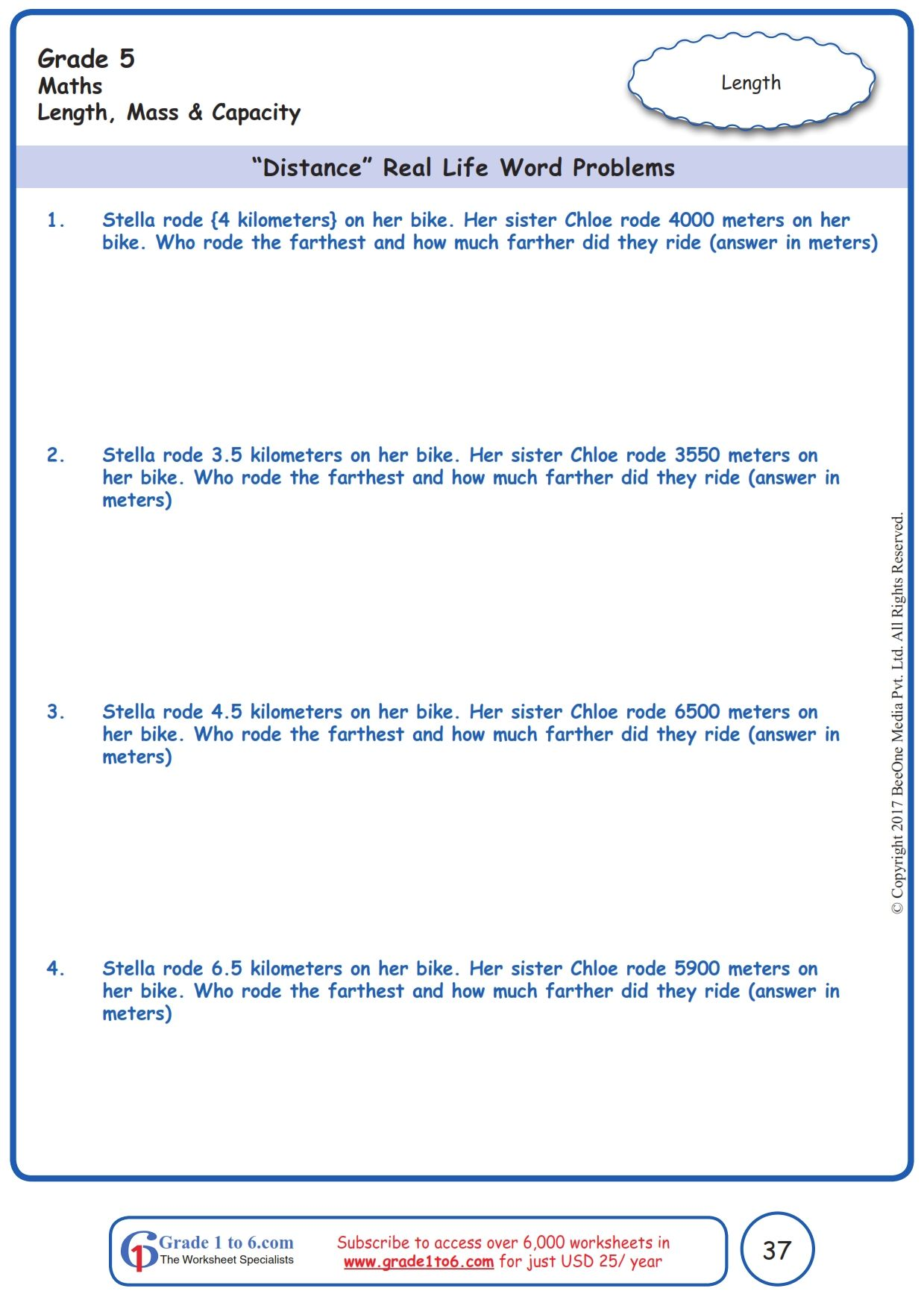 "Worksheet Grade 5 Math ""Distance"" Real Life Word Problems   Word problems [ 1754 x 1239 Pixel ]"