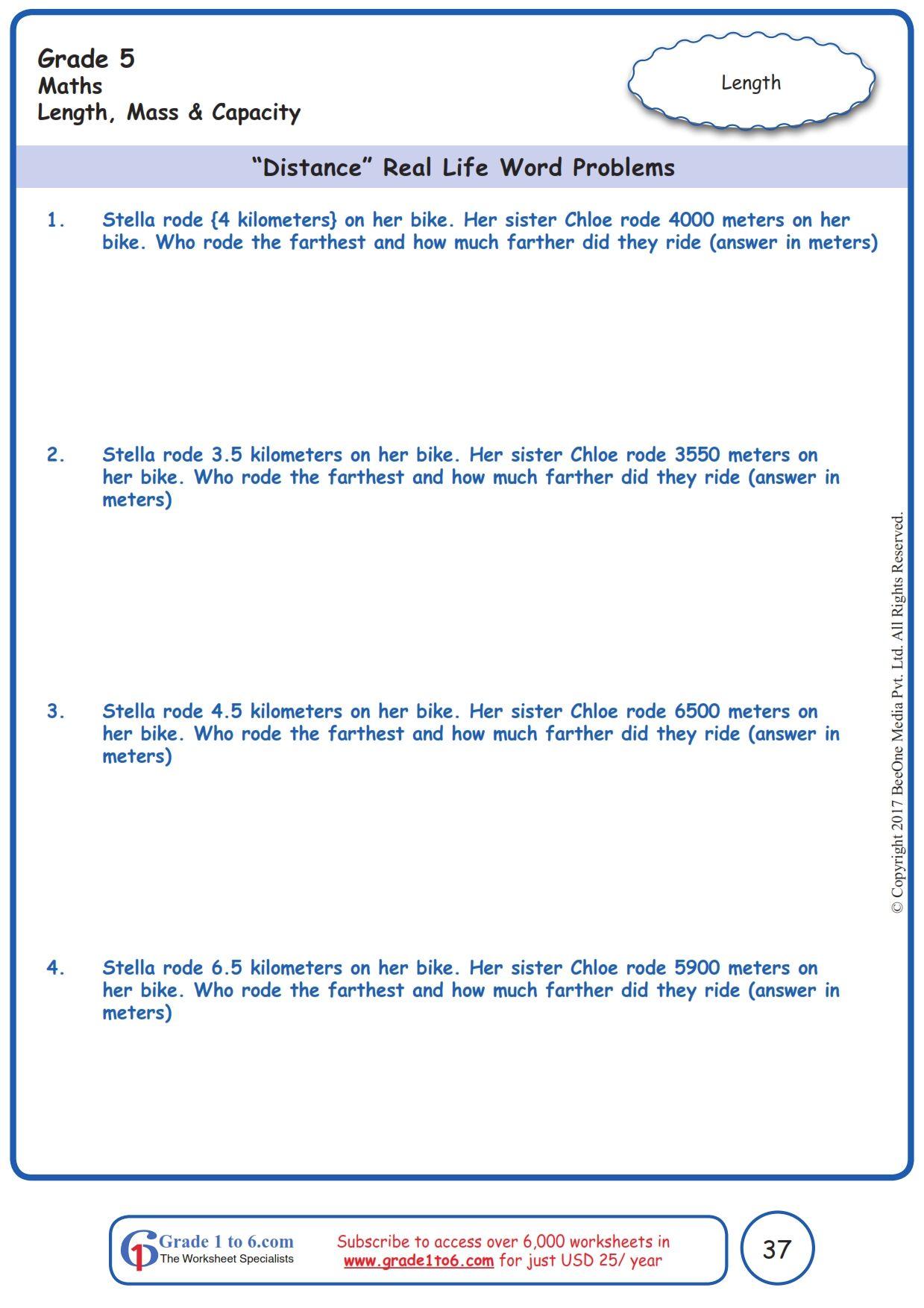Worksheet Grade 5 Math Distance Real Life Word Problems Word Problems Free Math Worksheets Measurement Word Problems Math grade worksheets word problems