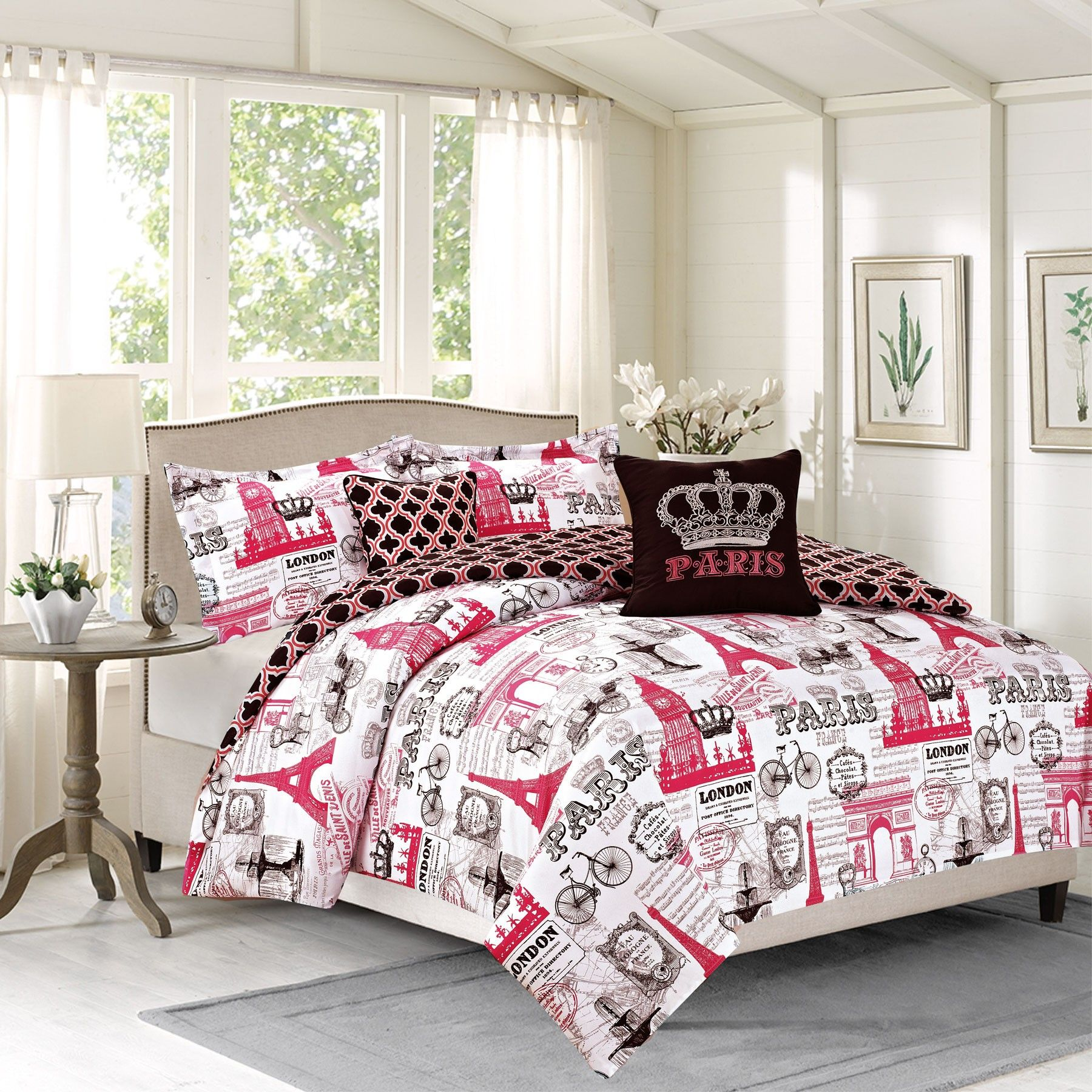 Crest Home Bon Voyage Full 5 Piece Paris London Bedding Comforter
