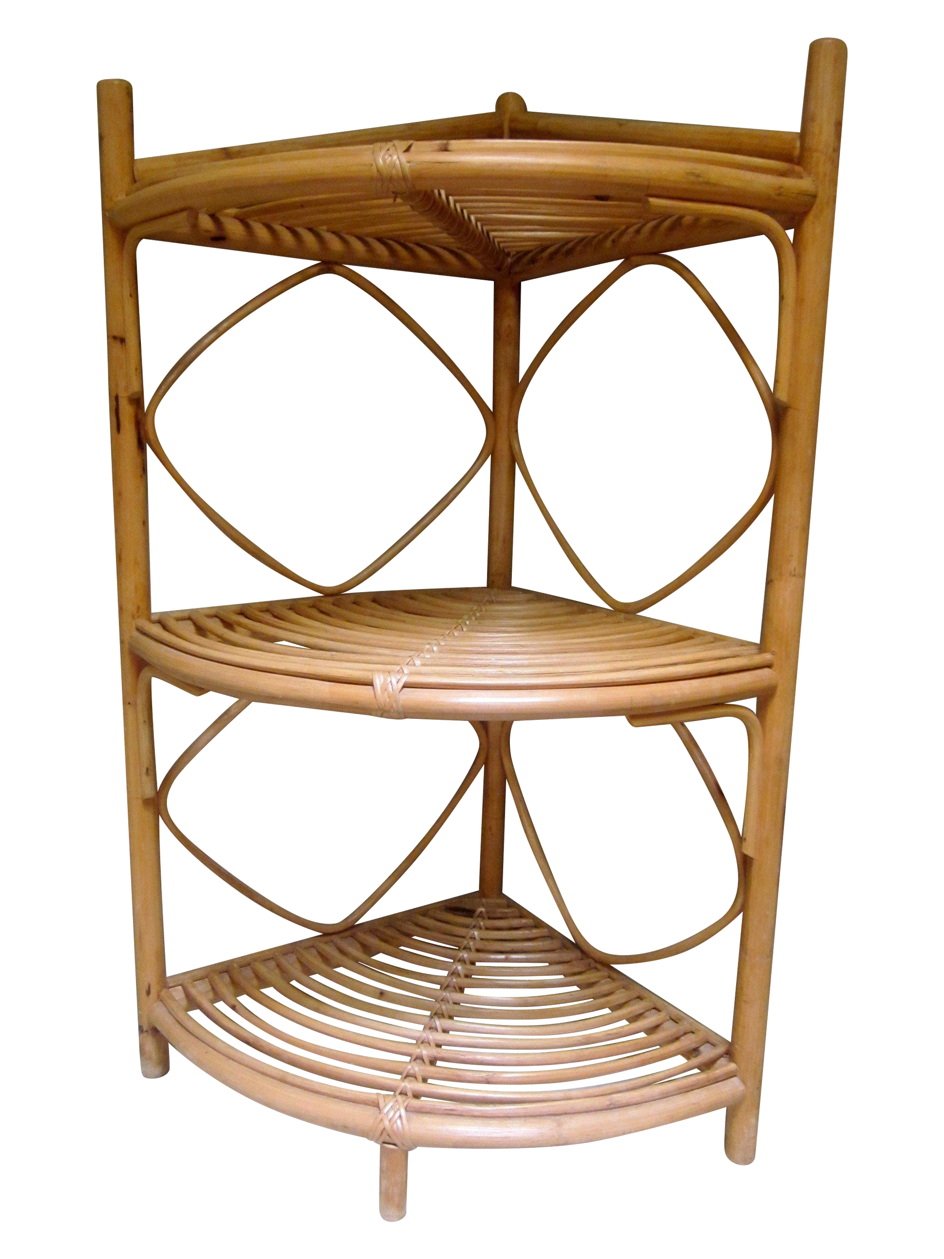 Vintage Rattan Bamboo Corner Shelf On