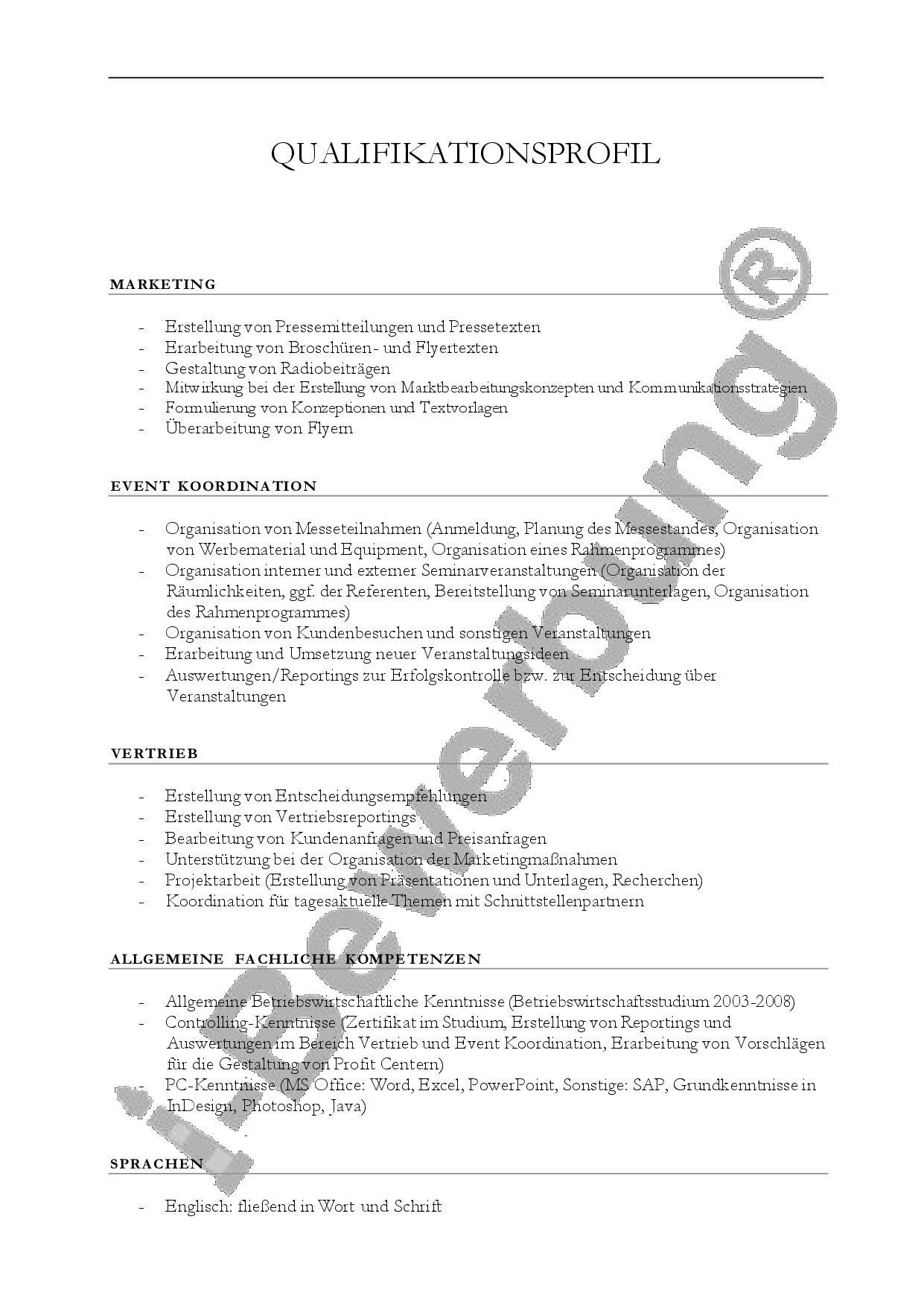Das Qualifikationsprofil Zur Intiativbewerbung Bewerbung Lebenslauf Profil