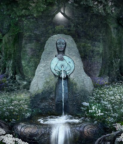 """Beltane: Lady of the Sacred Well"" by Angie Latham / ""Triduana's themes are banishing, health & protection. Her symbols are water & oak.  In Scotland, this Goddess rules over sacred water sources, from which She selflessly gives Her elixir to all who ask in humility. Many of Her wells are said to dwell beneath oak trees, ancient symbols of protection & well-being."""