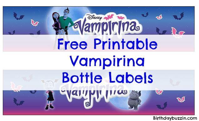 Free Printable Vampirina Water Bottle Labels