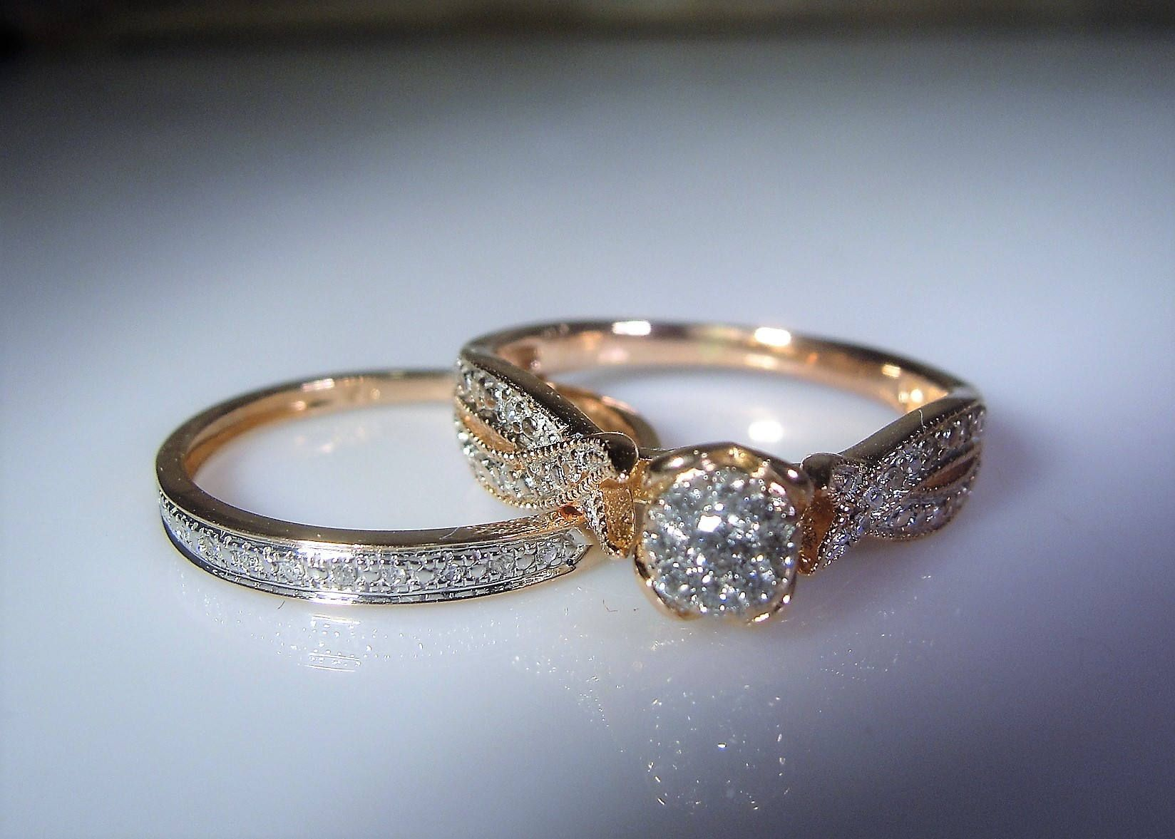 rings ring set promise pin rose matching band bridal three wedding gold engagement stone
