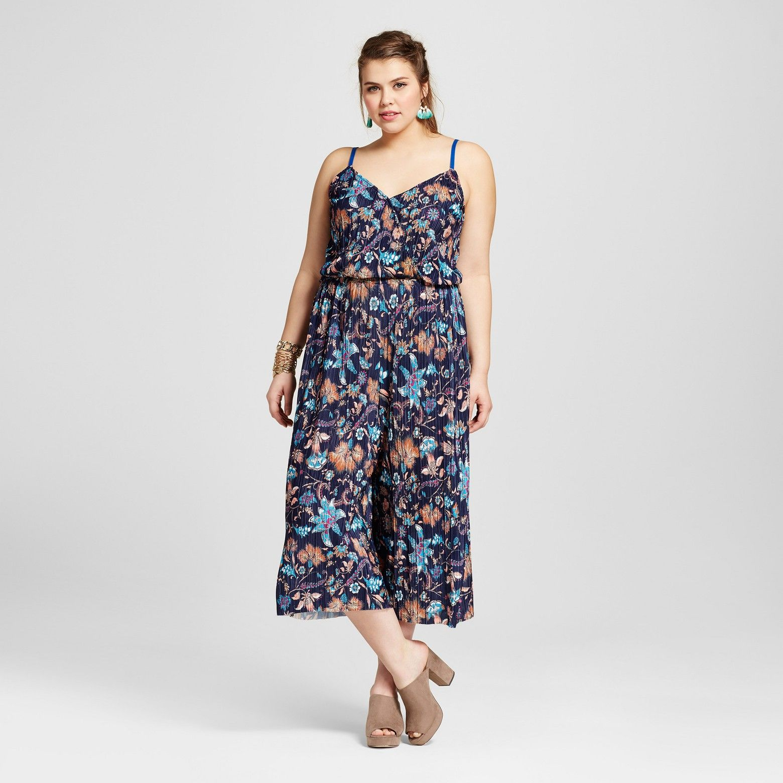 e00c895428cf Have fun in this soft and flowy Women s Plus Size Jumpsuit in Navy Floral  by Xhilaration.  153  This bold and colorful women rsquo s sleeveless  cropped leg ...