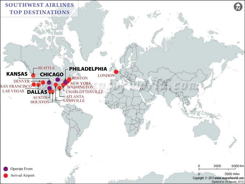 Southwest Airlines Major Destinations Map Airlines