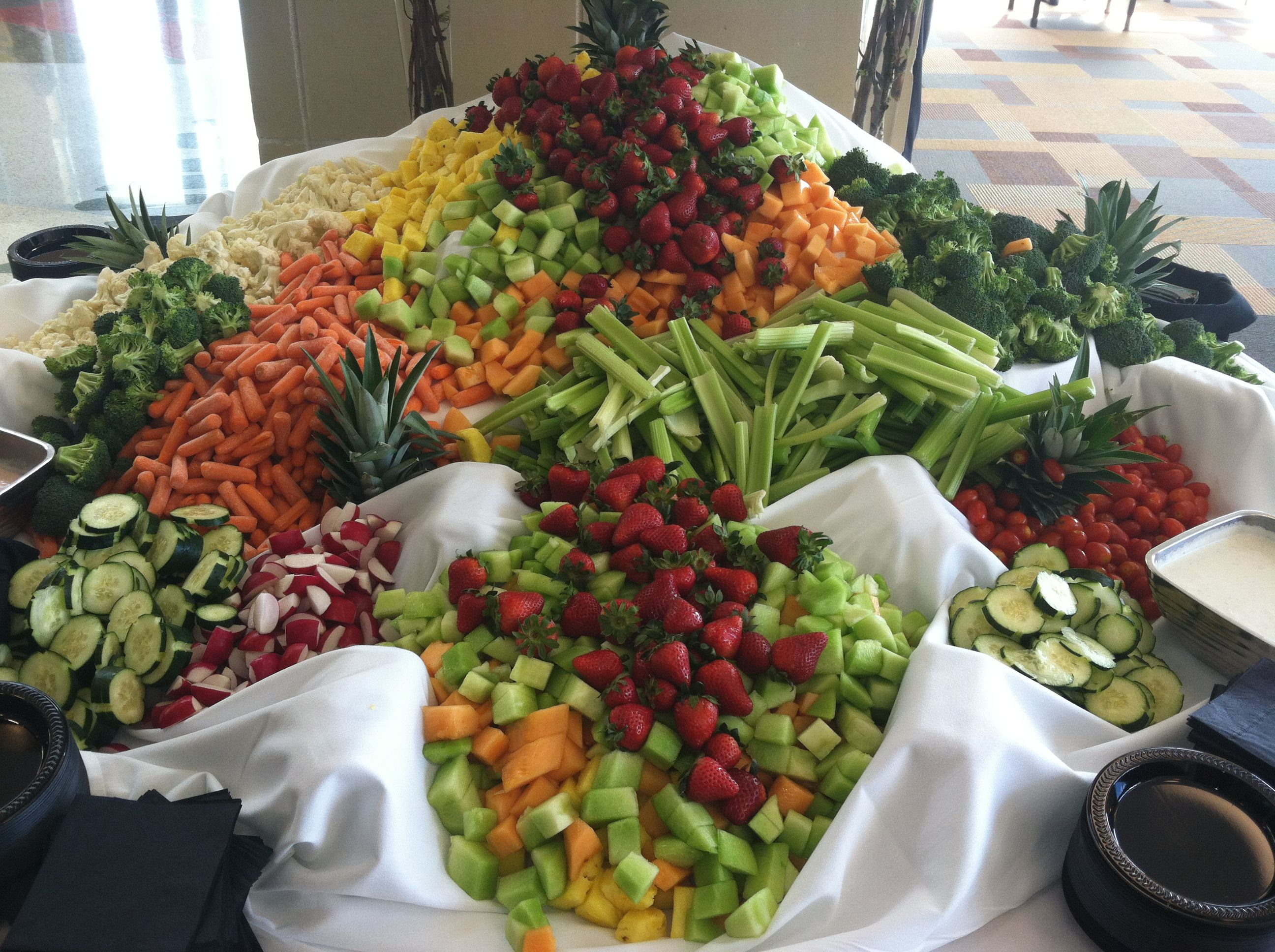 Waterfall Fruit And Veggie Displays: Veggie Display #wedding