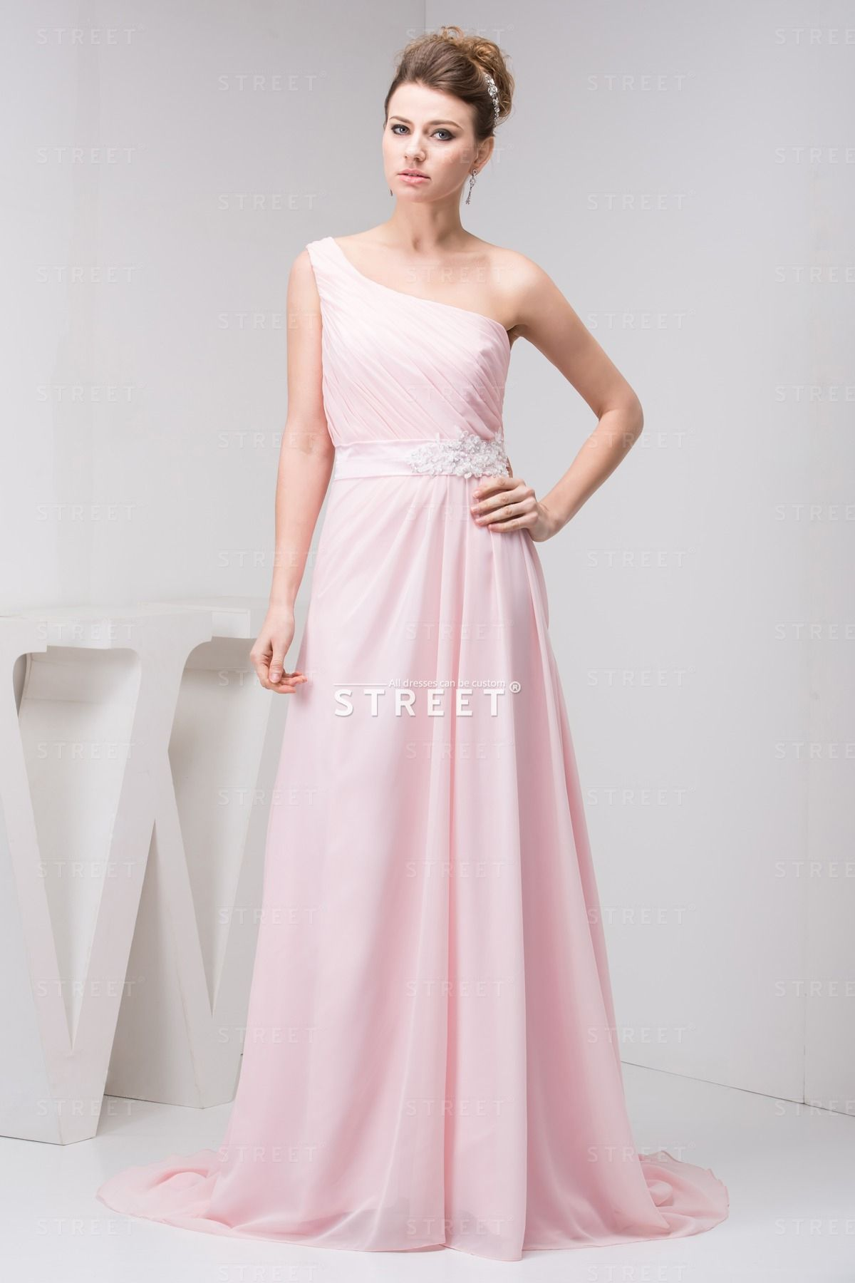 Sweet Girls Pearl Pink Sweep Train Ruched Teenage Wedding Guest Dress