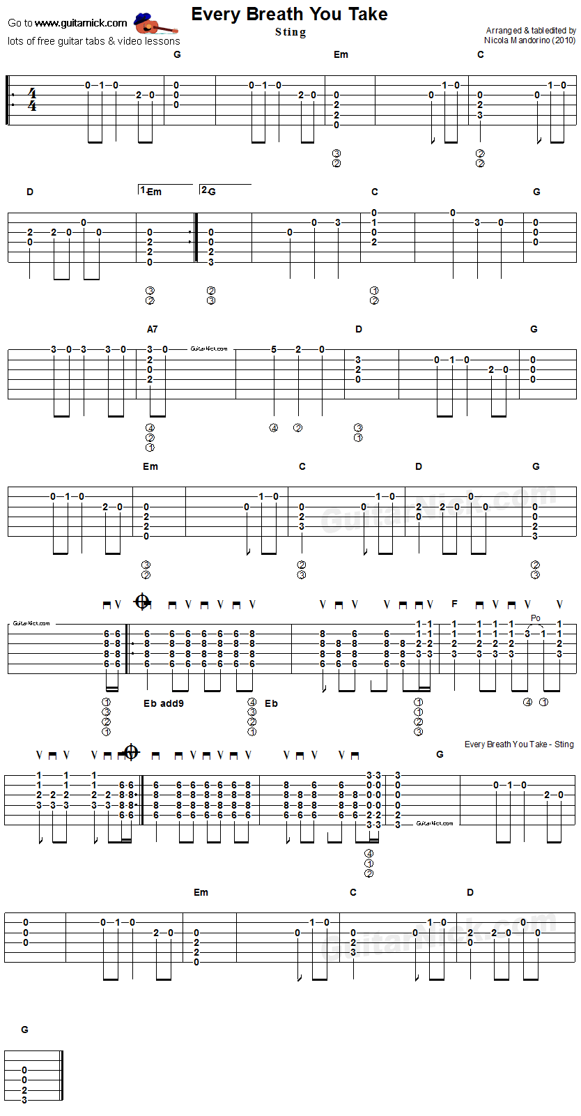 Every Breath You Take Stingpolice Easy Acoustic Guitar Tab