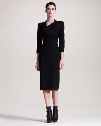 Cowl-Neck Dress by Alexander McQueen at Bergdorf Goodman.     Pre-Fall Collection