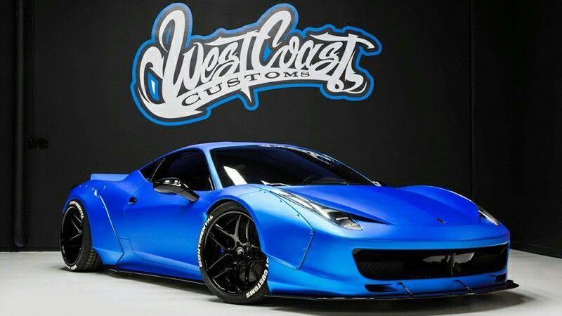 Justin Bieber Ferrari 458 Italia Liberty Walk Ice Blue West Coast Customs Ferrari458 West Coast Customs Cars Ferrari 458 West Coast Customs
