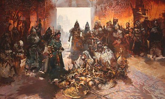 """Pintura que representa una frase de Hulagu Khan al califa Al-Musta'sim, cuando lo encerró en su habitación del tesoro sin comida ni agua, al que hablo: """"coma de su tesoro, puesto que usted lo ama tanto""""."""