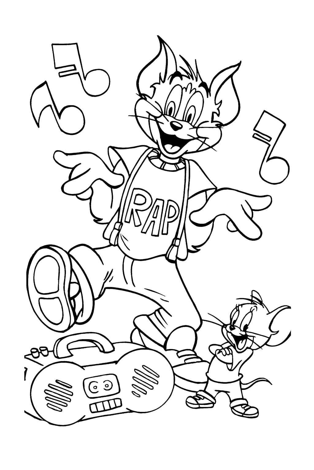 Tom And Jerry Were Singing Along Coloring Page | tom en jerry ...