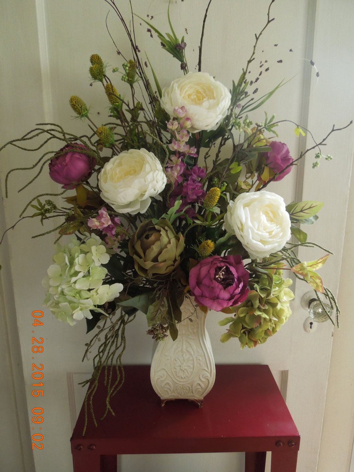 """32 Flower Toe Nail Designs: 32"""" Floral Arrangement With Purple Peonys Cream Cabbage"""