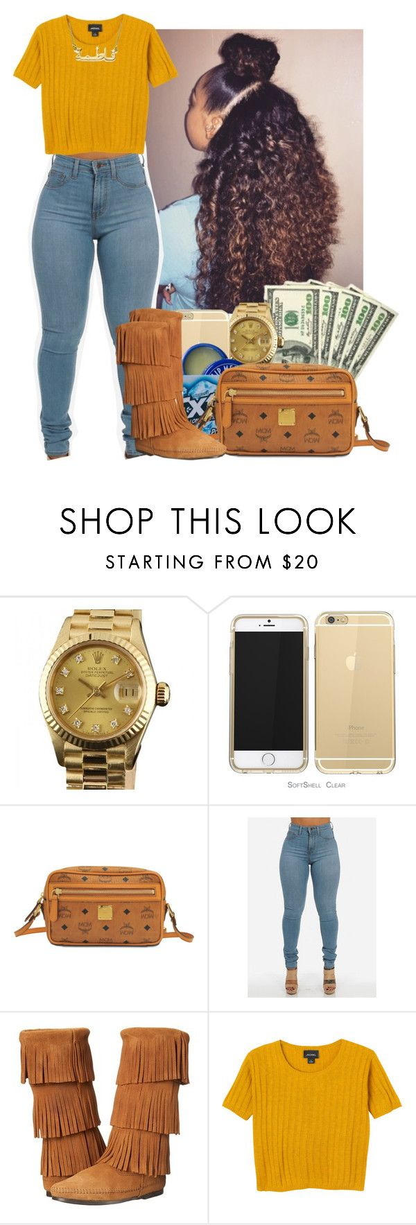 """"" by heavensincere ❤ liked on Polyvore featuring Rolex, MCM, Minnetonka and Monki"