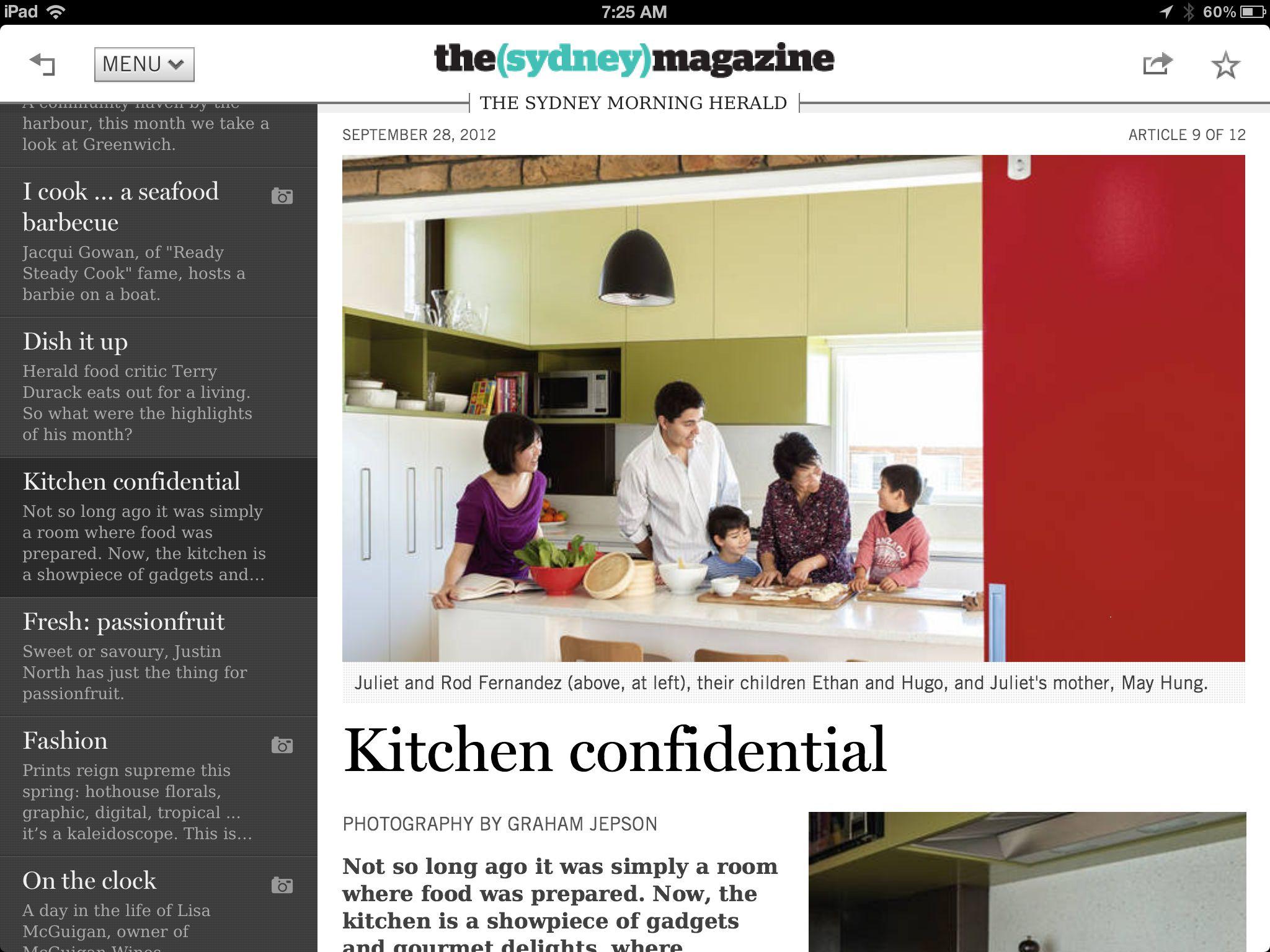 Sydney magazine Food critic, The sydney morning herald