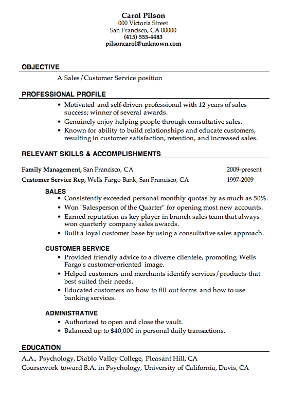 resume sample sales customer service
