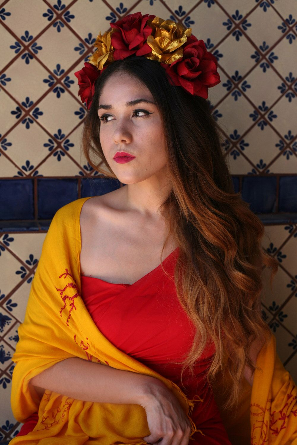 red gold flower crown headband frida kahlo costume day of the dead headpiece catrina mexican headdress costume halloween dia de los muertos by