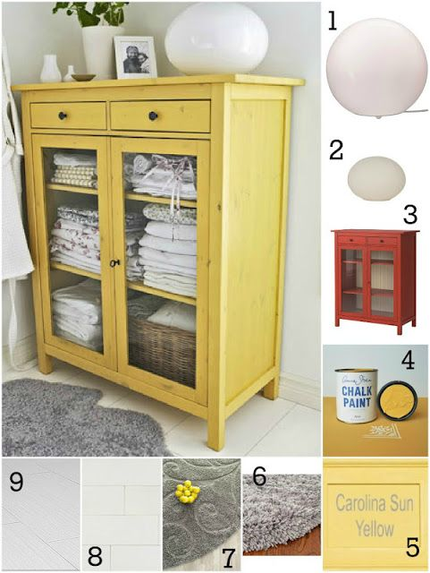 Annie Sloan Arles or CeCe Caldwell's Carolina Sun Yellow paint Ikea Hemnes cabinet could be
