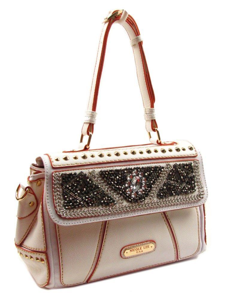 877476071 Elegante cartera crema con detalles en piedras Nicole Lee | moda en ...