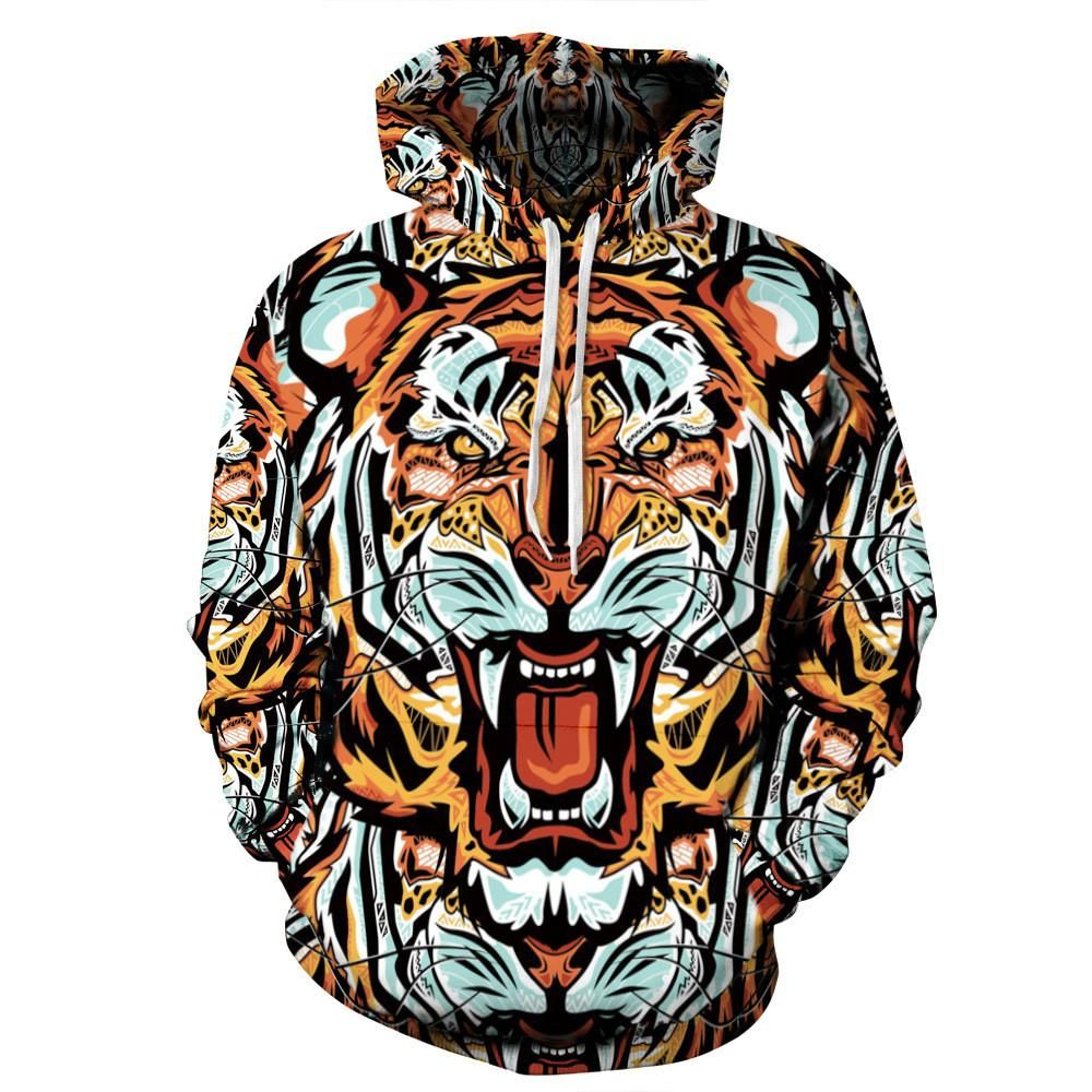 Chinese Tiger Men 3D Print Pullover Hoodie Sweatshirt with Front Pocket
