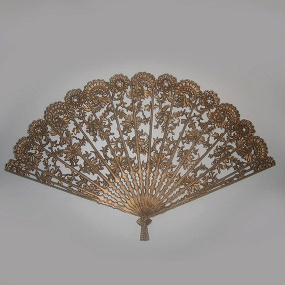 Jp Vintage Large Wall Fan Decor In Gold