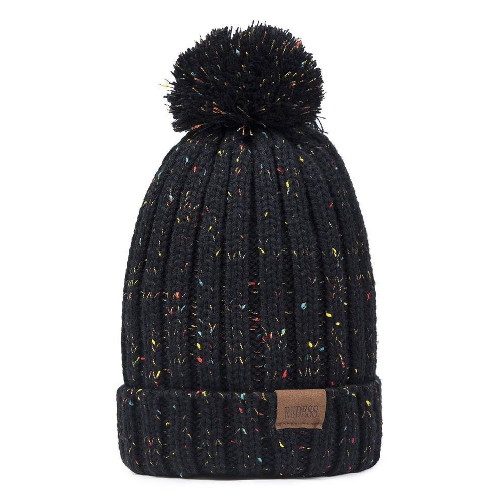 54b655b0eb6 WOMEN WINTER POM POM BEANIE HAT WITH WARM FLEECE LINED THICK SLOUCHY SNOW  BLACK  fashion  clothing  shoes  accessories  unisexclothingshoesaccs ...