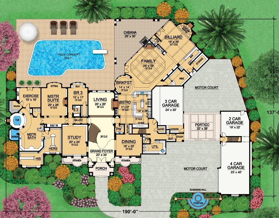 House Plan 5445 00230 Luxury Plan 14 727 Square Feet 8 Bedrooms 10 Bathrooms Luxury Plan Mansion Plans How To Plan