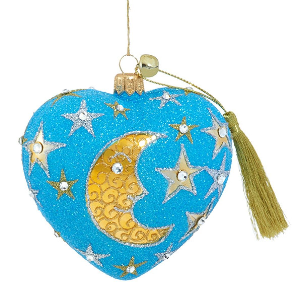 Wish Upon A Star Collectible Polish Glass Blue Moon Heart