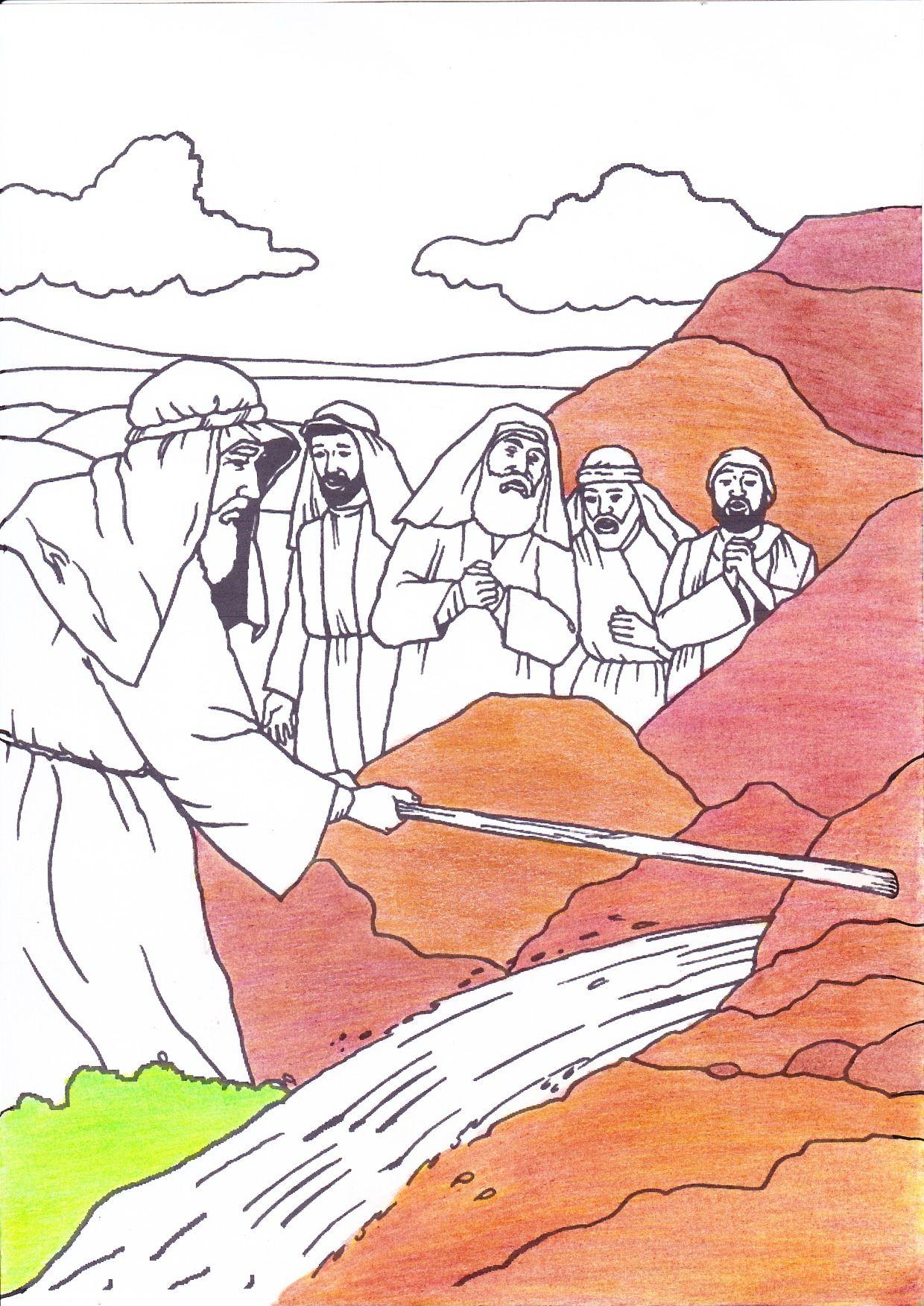 Mozes Slaat Met De Stok Op De Rots Kleur Deze Kleurplaat Af Bijbel Kleurplaten Bijbel Godsdienstles