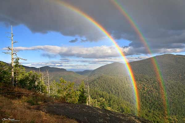 Photo of the Week on Adirondack.net for the Week for July 8th, 2013 - July 14th, 2013. Double rainbow from Baxter Mountain By: Chris Tennant.