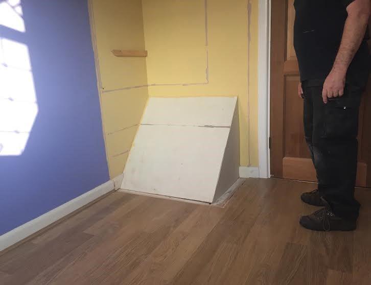 Small Box Room Cabin Bed For Grandma: Stairs Bulkhead In Small Box Room