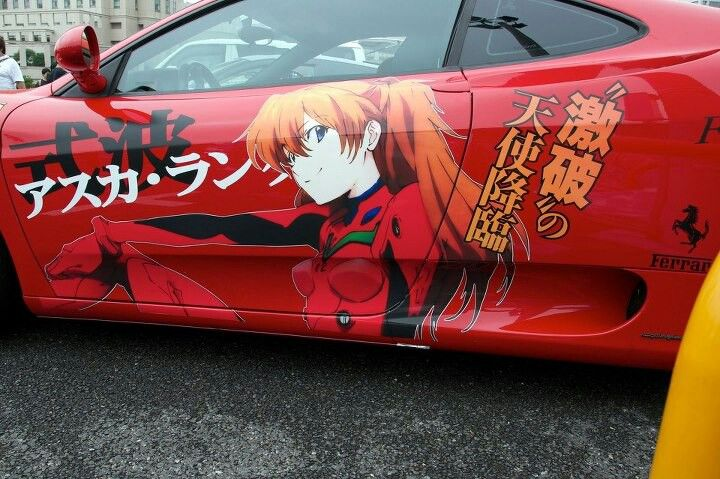 From alafista: A bright red Ferrari itasha is suitable for the awesome Asuka Shikinami Langley from Rebuild of Evangelion