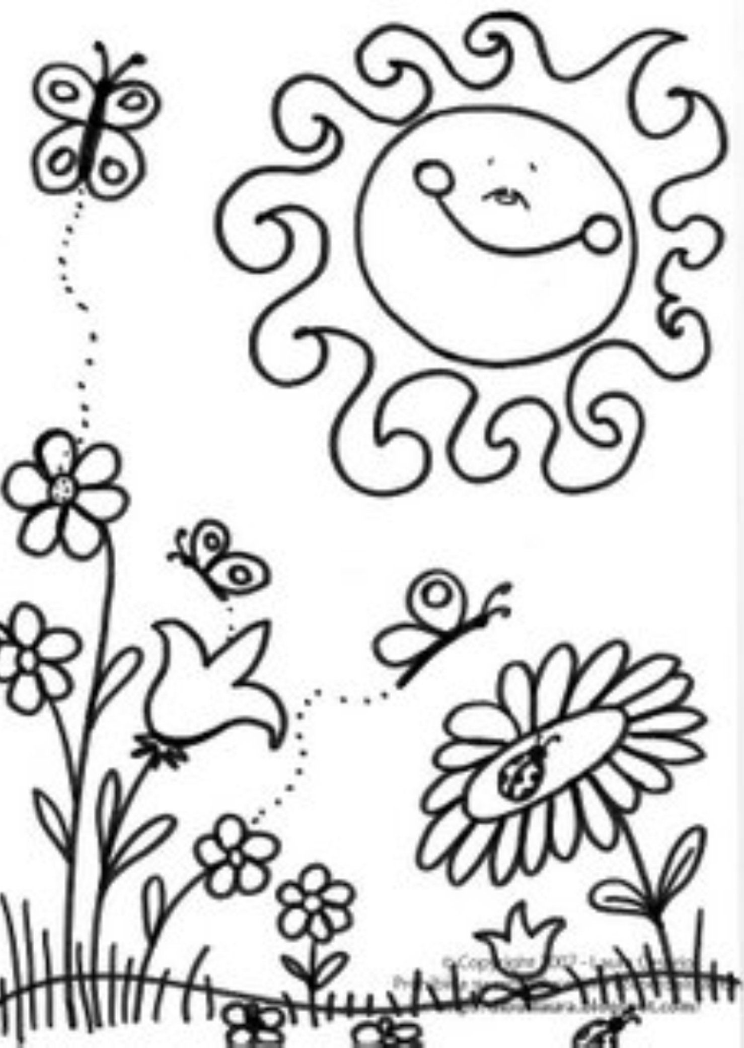 preschool coloring pages for spring | Scene Of Spring Coloring Page | Spring coloring pages ...