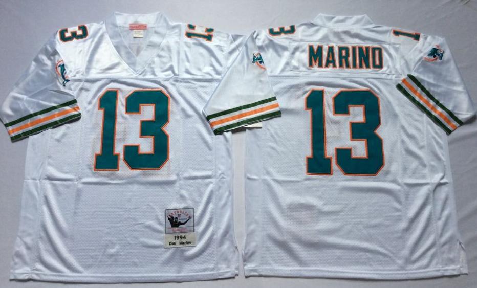 Men NFL Miami Dolphins 13 Marino white Mitchell Ness jerseys  fe7850cfb